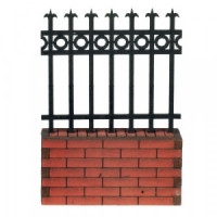 Dollhouse 3 inch Bricked Fence Section - Product Image