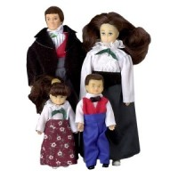 Dollhouse Brunette Victorian Doll Family - Product Image
