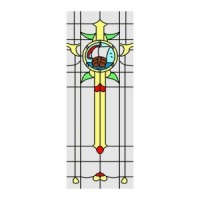 Ship Design Simulated Stain Glass Door Insert - Product Image
