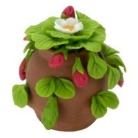 Dollhouse Strawberry Planted in Clay Pot - Product Image