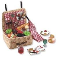 Dollhouse Filled Picnic Basket - Product Image