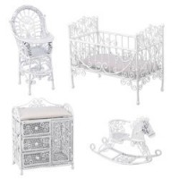 Dollhouse White Wire Nursery - Product Image