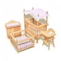 Dollhouse 5 pc Oak Canopy Nursery Set - Product Image