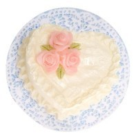 White Heart Cake With Pink Roses - Product Image