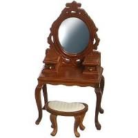 Dollhouse Walnut Vanity w/Mirror & Stool - Product Image