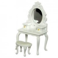 Dollhouse White Vanity w/Mirror & Stool - Product Image