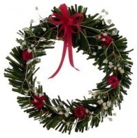 (*) Dollhouse Wreath w/ Red & White - Product Image