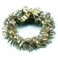 Dollhouse Christmas Wreath w/ Gold Bow - Product Image