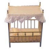 (**) Dollhouse Brass Canopy Crib - Product Image