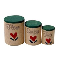 § Disc .60¢ Off - Dollhouse Wooden Canisters - Product Image