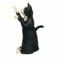 Dollhouse Miniature Begging Cats #2 - Product Image