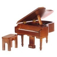 Dollhouse Musical Walnut Grand Piano - Product Image