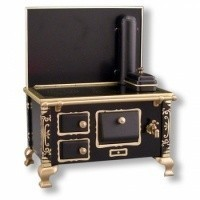 Closeout - Dollhouse Black Tin Stove - Product Image