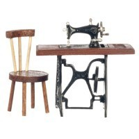 Dollhouse Sewing Machine & Chair Set - Product Image