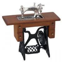 Silver Sewing Machine Walnut Cabinet - Product Image