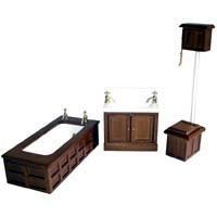 Dollhouse Victorian Mahogany Bathset - Product Image