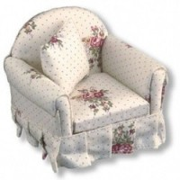 Dollhouse Rose Armchair by Reutter Porcelain - Product Image