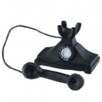 Dollhouse Black Cradle Phone - Product Image