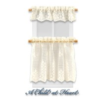 Dollhouse Beige Ecru Lace Cafe Curtain - Product Image