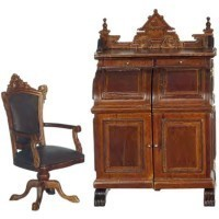 Dollhouse Victorian Wooten Desk & Chair - Product Image