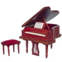Dollhouse Grand Piano & Stool, Mahogany - Product Image