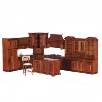 Dollhouse Walnut Kitchen by Bespaq - Product Image