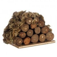 Dollhouse Fireplace Logs With Moss - Product Image