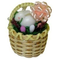 Dollhouse Easter Basket with White Bunny - Product Image