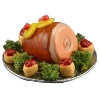 Dollhouse Baked Ham & Garnish On Tray - Product Image