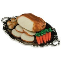 (**) Dollhouse Turkey Dinner on Tray - Product Image