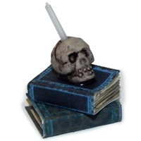 Dollhouse Skull with Books - Product Image