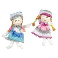 (*) Dollhouse Blue & Rose Cloth Dolls - Product Image