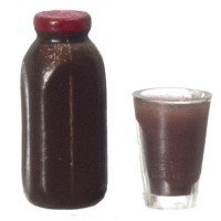 (*) Dollhouse Glass of Chocolate Milk with Quart Bottle - Product Image