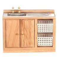 Dollhouse Modern Oak Laundry Sink - Product Image