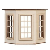Dollhouse Flat Top (6 over 6)Bay Window - Product Image