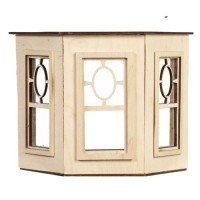 Dollhouse Flat Top Bay WindowWith Oval Window - Product Image