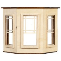 Dollhouse Flat Top Bay w/Half Square Windows - Product Image