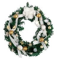 Dollhouse Christmas Wreath - White & Gold or Red - Product Image