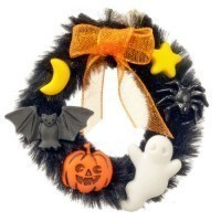 (*) Dollhouse Halloween Wreath - Product Image