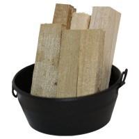 Black Dollhouse Tub with Wood - Product Image