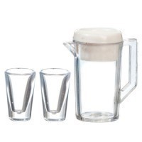 (**) Dollhouse Pitcher with Lid & 2 Glasses - Product Image