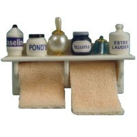 Long Bathroom Shelf & Towels - Product Image