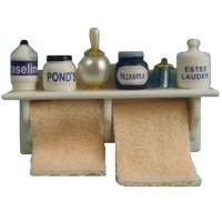 Long Bathroom Shelf & Towels - Product Image