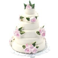 (*) Dollhouse 3 Tier Rose Wedding Cake(s) - Product Image