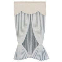 White Drape Scalloped Valance - Ecru Vine - Product Image