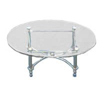 (*) Oval Chrome Coffee Table - Product Image