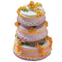(*) White & Yellow Dollhouse Wedding Cake - Product Image