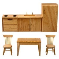 Dollhouse 6 pc Oak Kitchen Set - Product Image