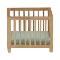 Dollhouse Slatted Playpen with Green Fabric - Product Image