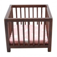 Dollhouse Slatted Playpen with Pink Fabric - Product Image